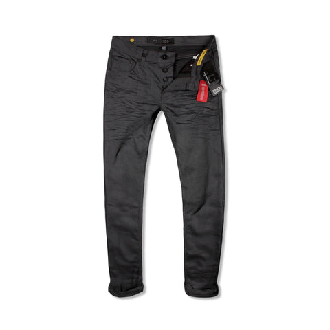 SMOG-exclusive grey 'slim fit' stretch coated jeans