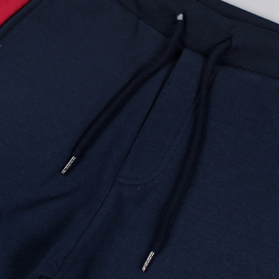 BERSHKA-blue 'slim fit' jogger trouser with side stripes