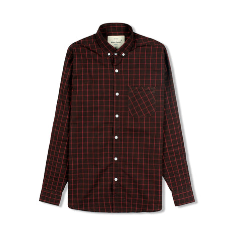 MARC FENDI-oxford durham maroon check button down shirt