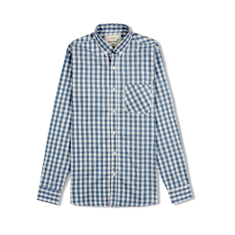 MARC FENDI-sky blue check button down shirt