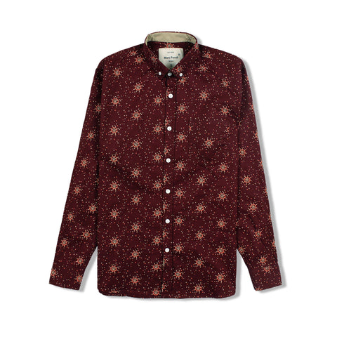 MARC FENDI-maroon printed button down shirt