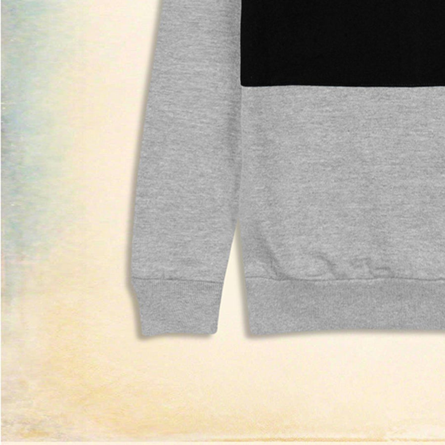 ZR-grey color block fleece sweatshirt
