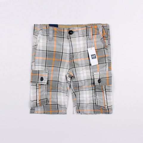 GAP-boys grey check plain cargo short