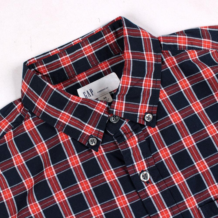 Orange navy plaid 'standard fit' button down shirt