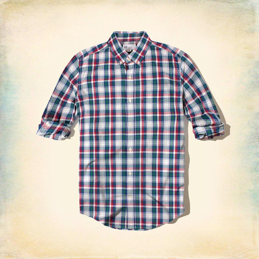 Blue green plaid 'standard fit' button down shirt