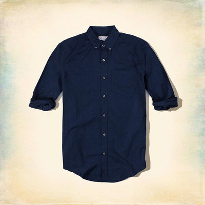 GAP-navy doted 'standard fit' button down shirt