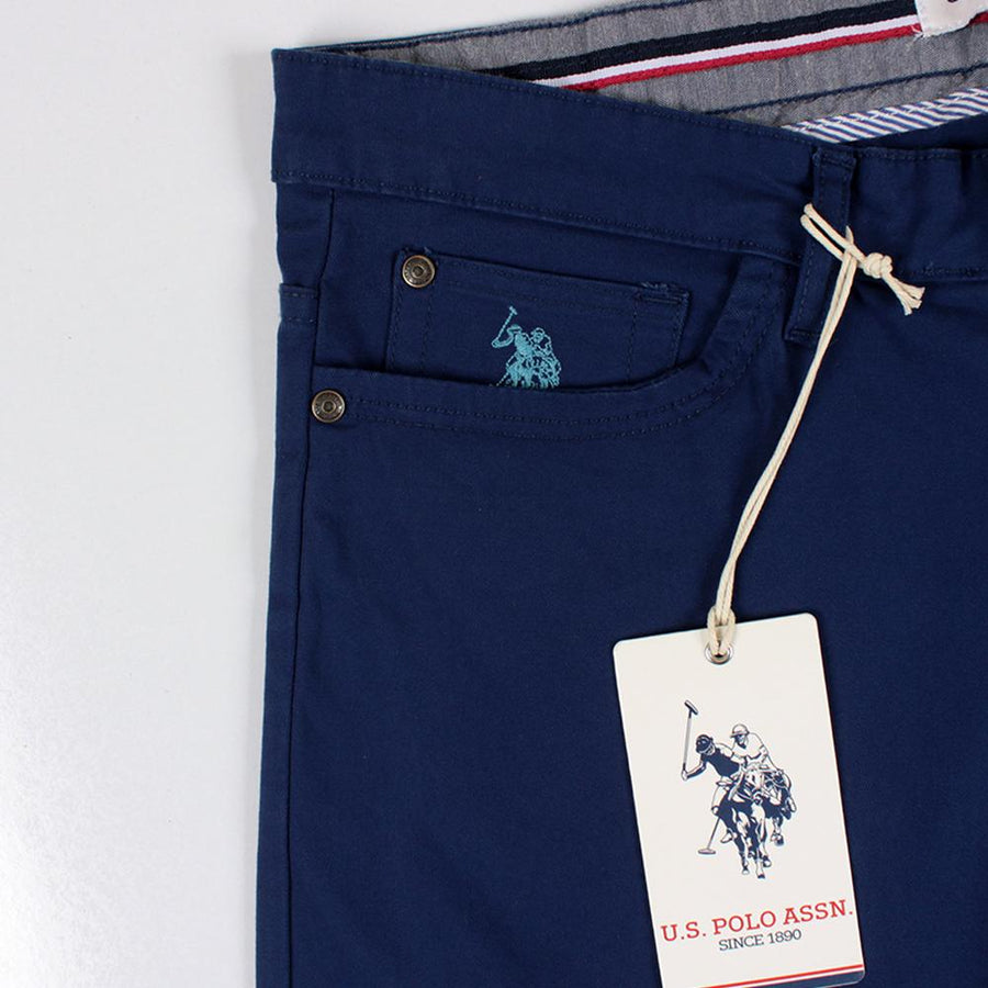 U.S. POLO ASSN-exclusive blue 'regular fit' cotton chino