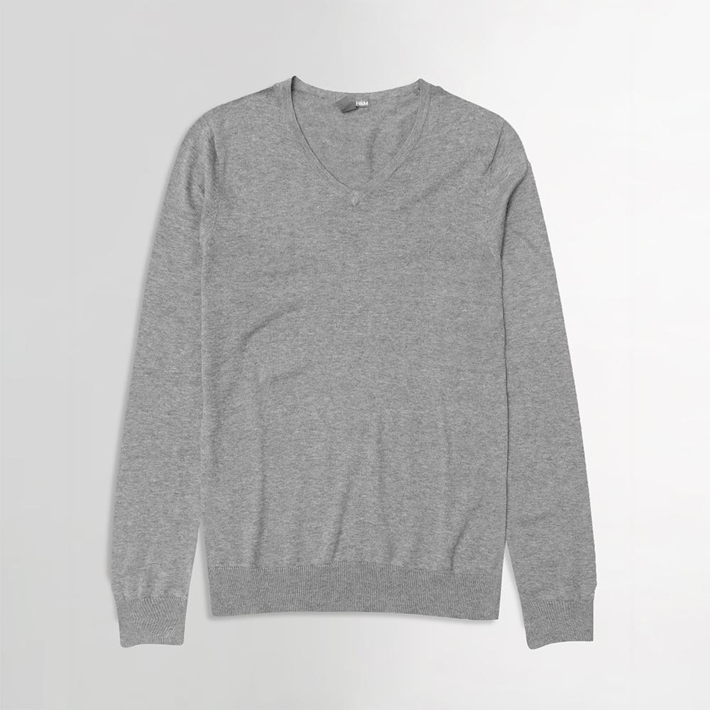 HM grey marl extra fine v-neck sweater (1570)