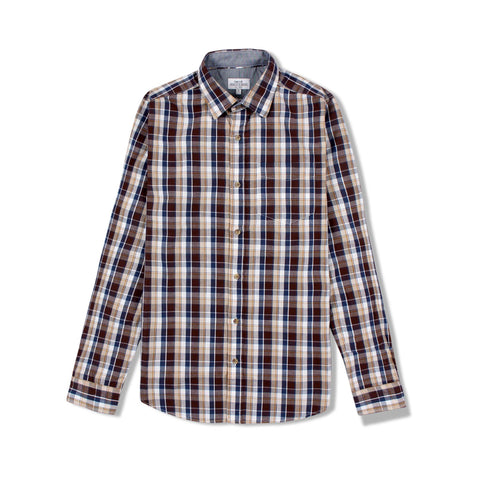 NEXT-brown long sleeve check shirt