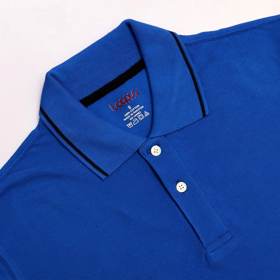 Loops royal blue 'regular fit' tipped collar polo (1029)