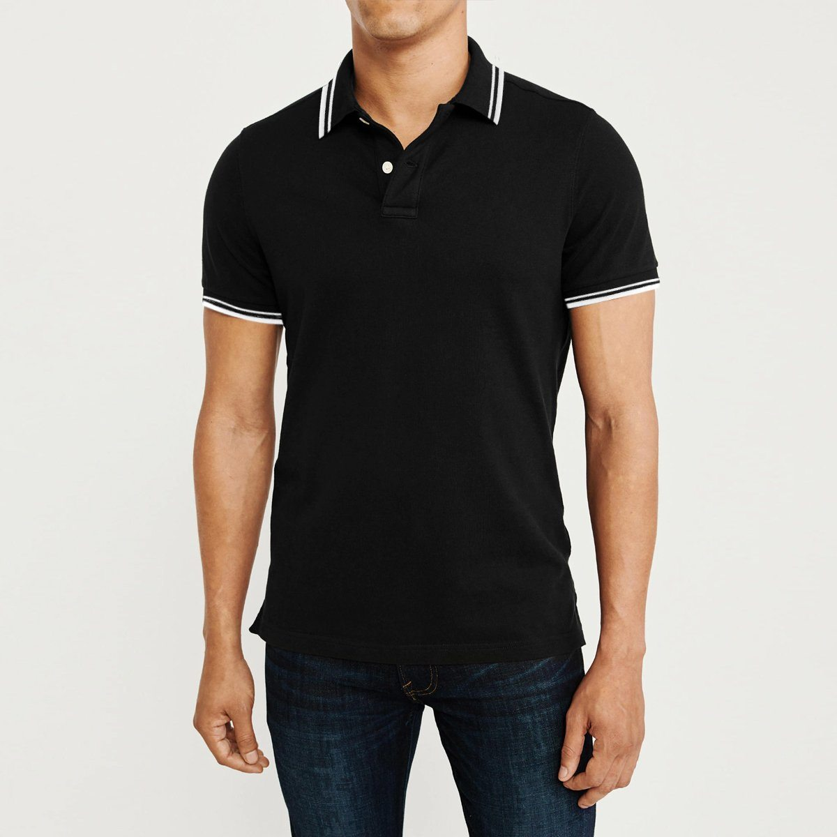 Loops black 'regular fit' tipped collar polo (1719)