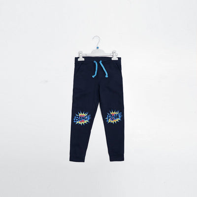 Pepco boys navy 'slim fit' printed jogger trouser (1498)