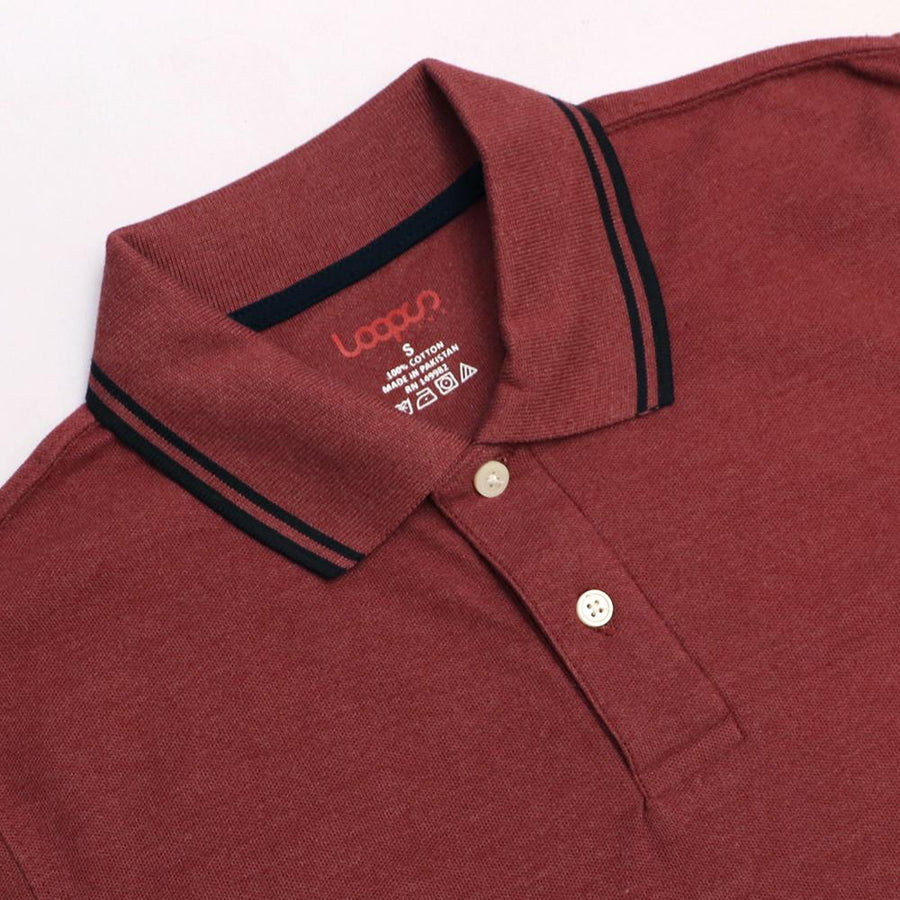 Loops brick red 'regular fit' tipped collar polo (1033)
