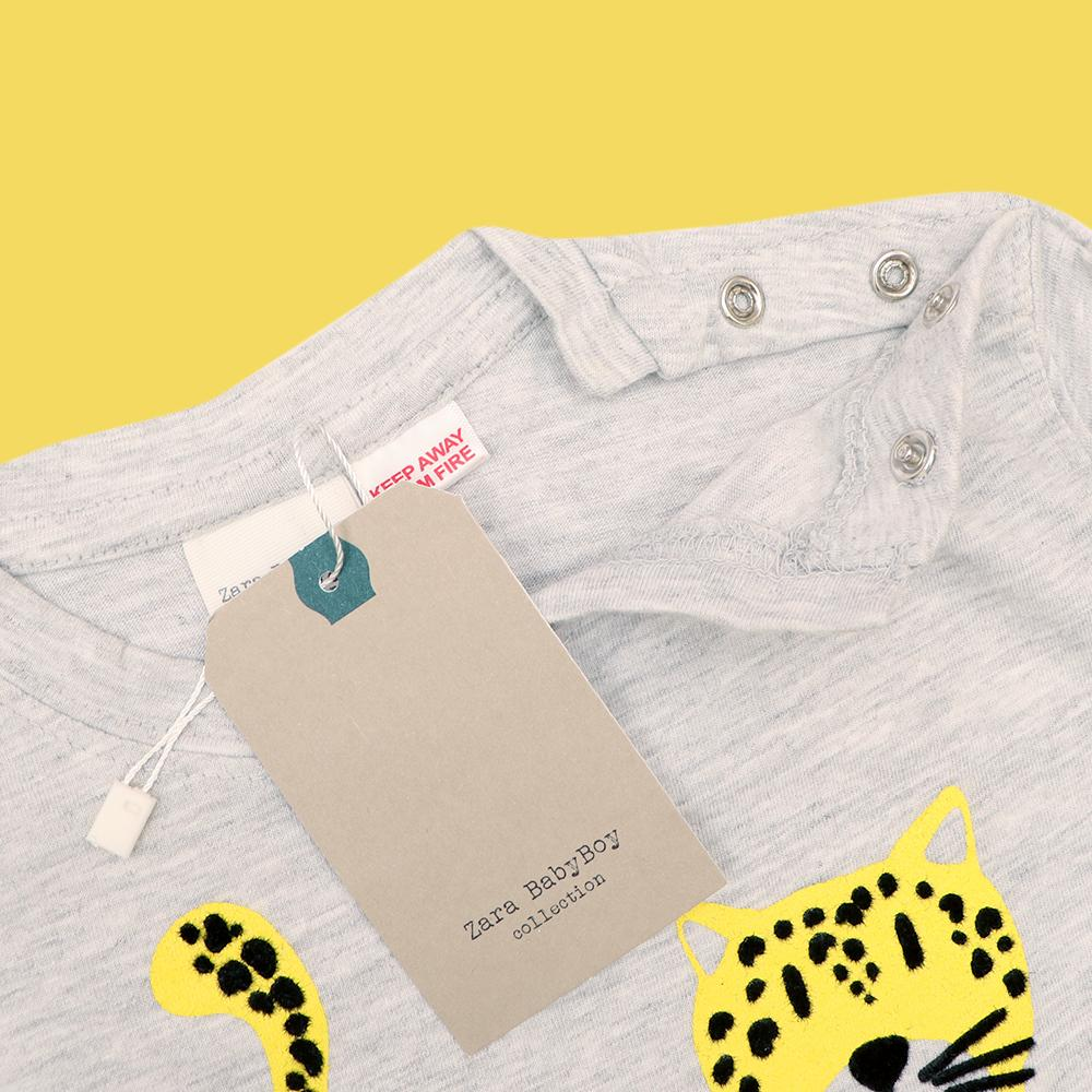 Zr kids grey 'leopard' printed t-shirt (1745)