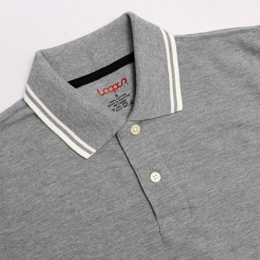 Loops grey 'regular fit' tipped collar polo (1034)