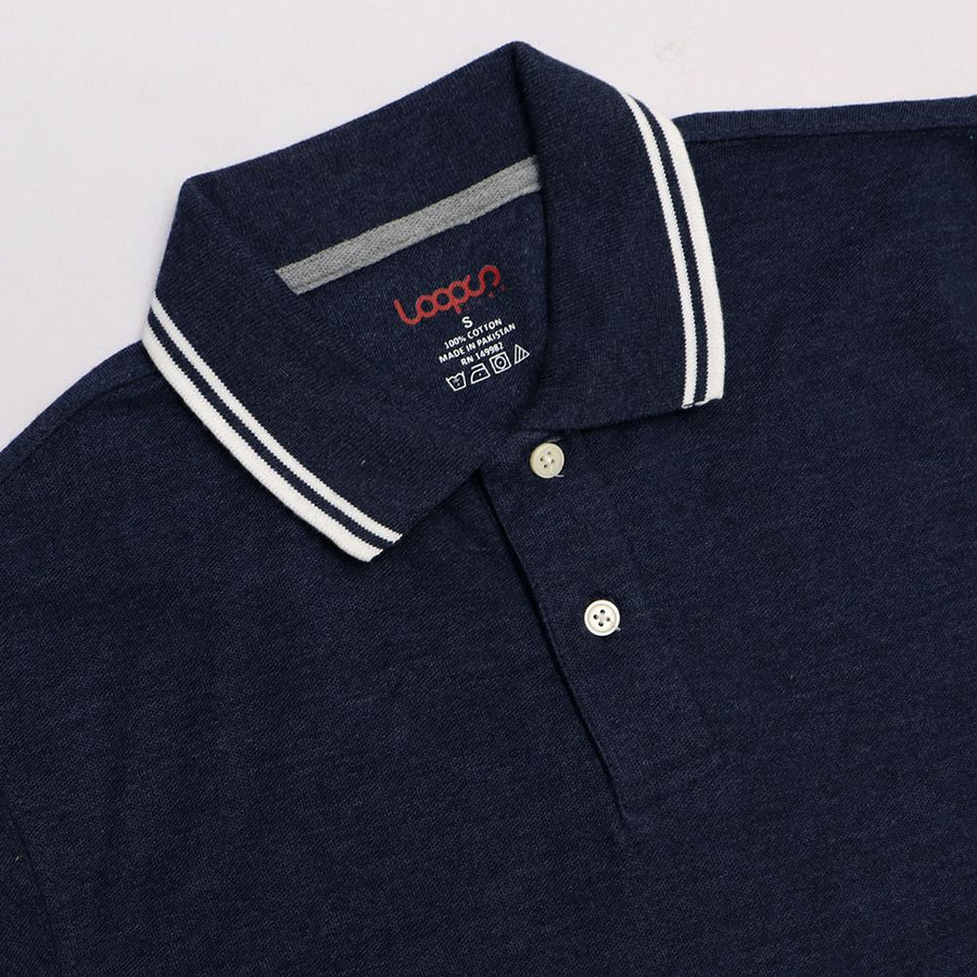 Loops navy 'regular fit' tipped collar polo (1036)