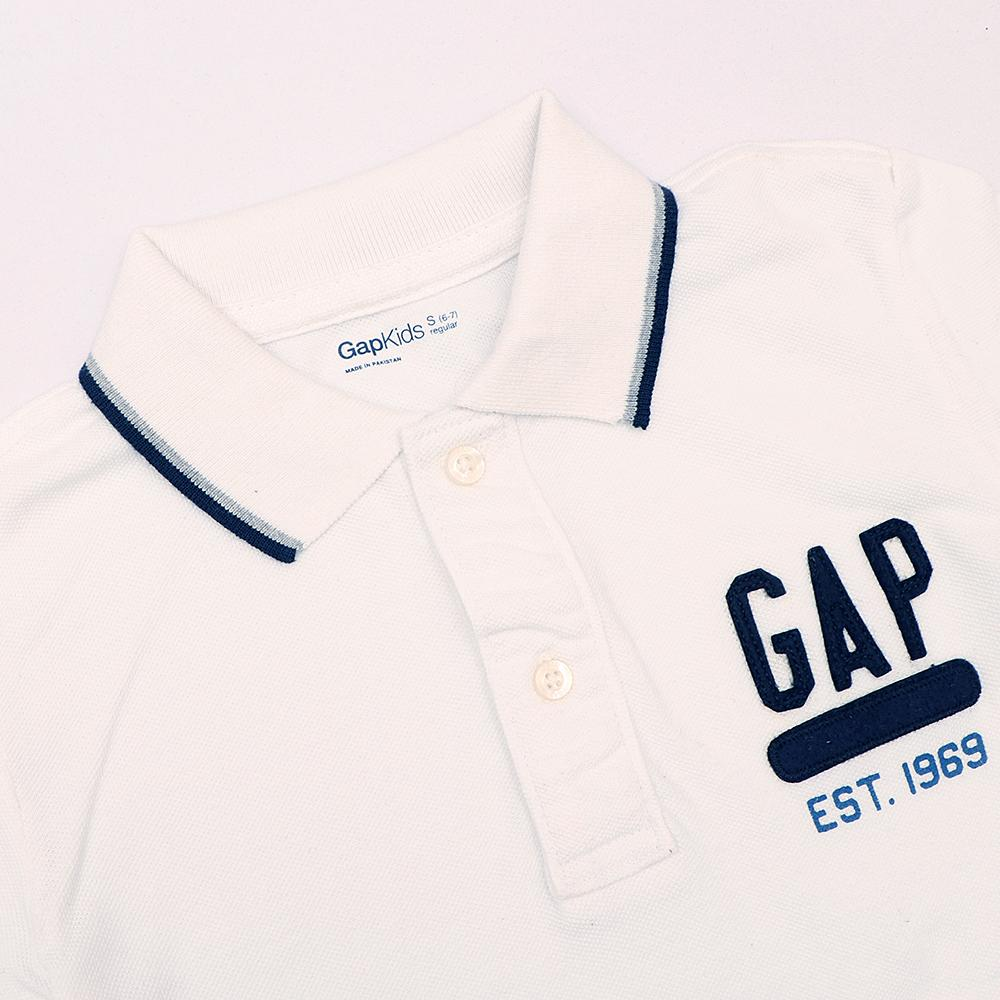 Boys white embroidered short sleeve polo (1741)
