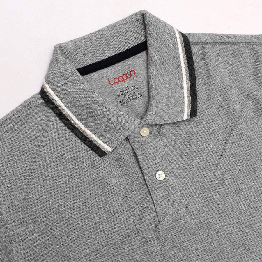 Loops grey 'regular fit' tipped collar polo (1035)