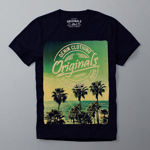 JACK & JONES-slim fit established 1990 navy graphic t-shirt