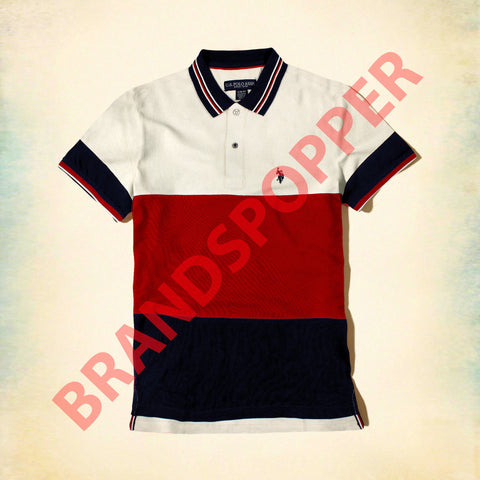 U.S. POLO ASSN-red color block pique polo