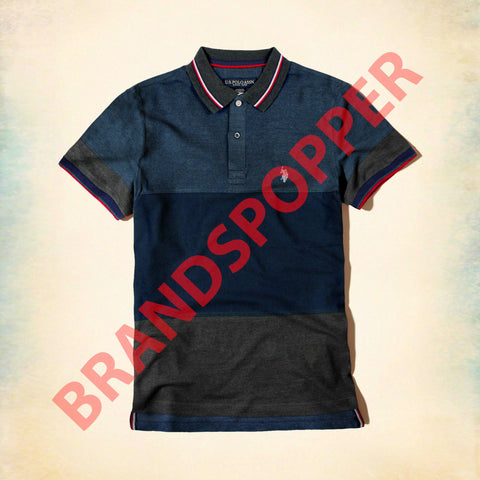 U.S. POLO ASSN-navy color block pique polo