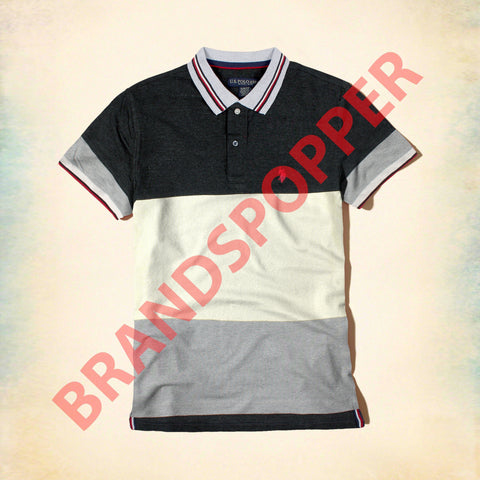 U.S. POLO ASSN-charcoal and off white color block pique polo