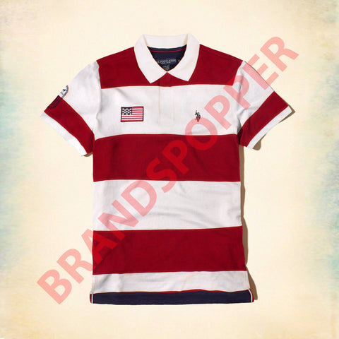 U.S. POLO ASSN-red and white liner pique polo
