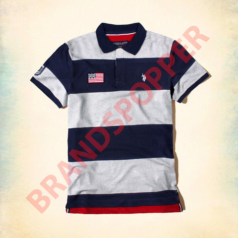 U.S. POLO ASSN-navy and grey liner pique polo