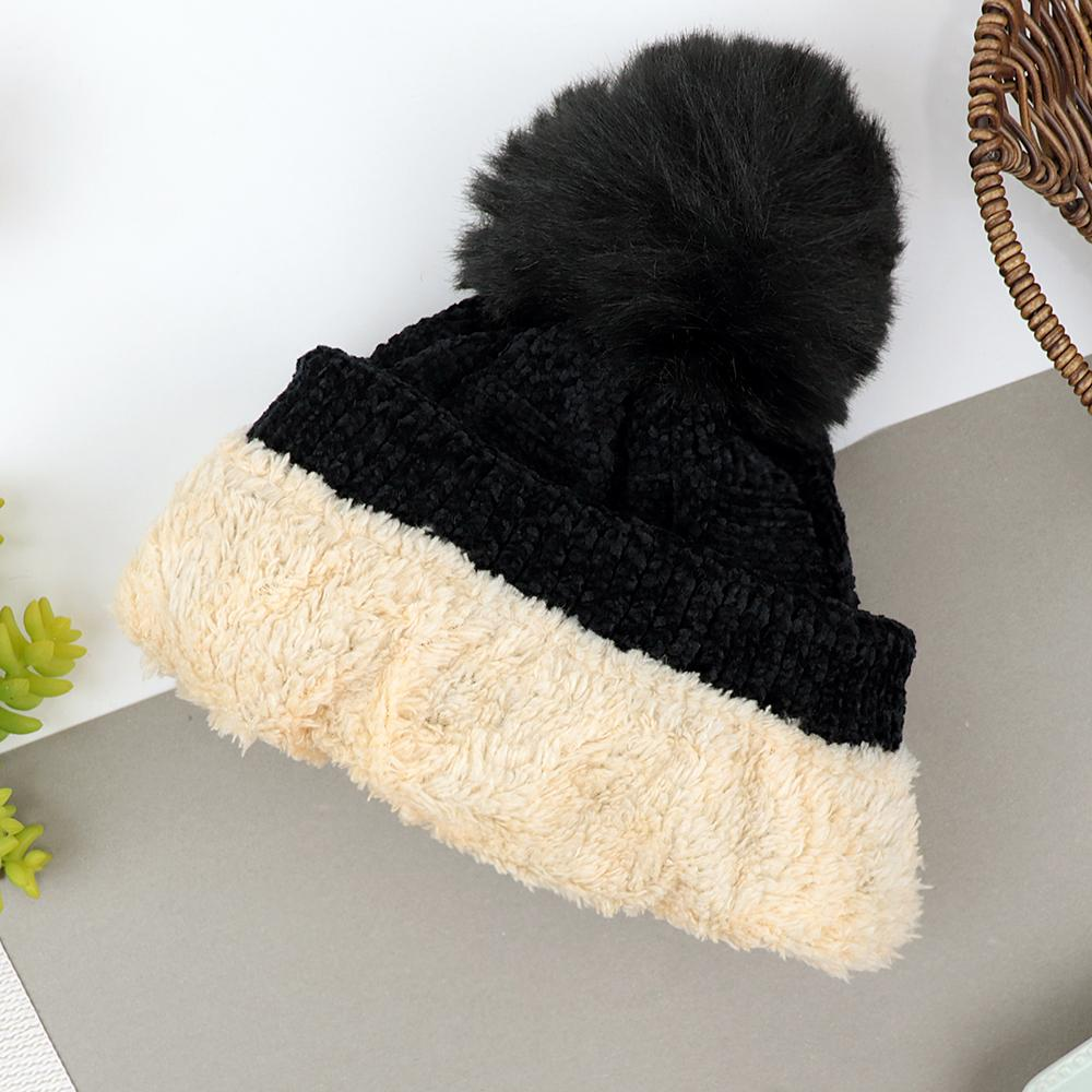 Lovely Winter Fur Lined Velvet Look Soft Knitted Wool Pom Pom Cap