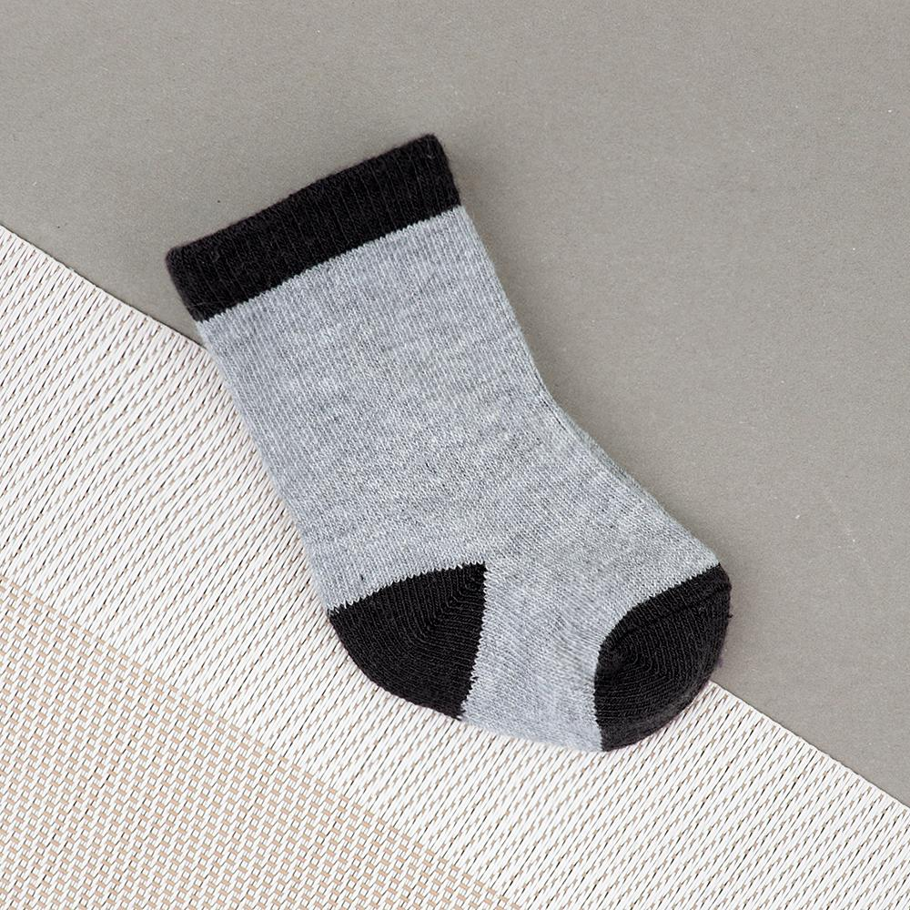 Baby Soft Grey And Black Socks For Newborn to 6 Months (30240)