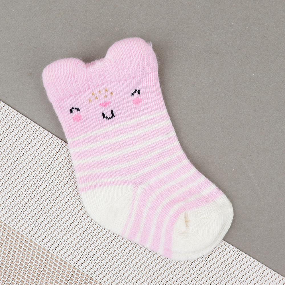 Baby Smiley Face Pink Soft Socks For Newborn to 6 Months (30224)
