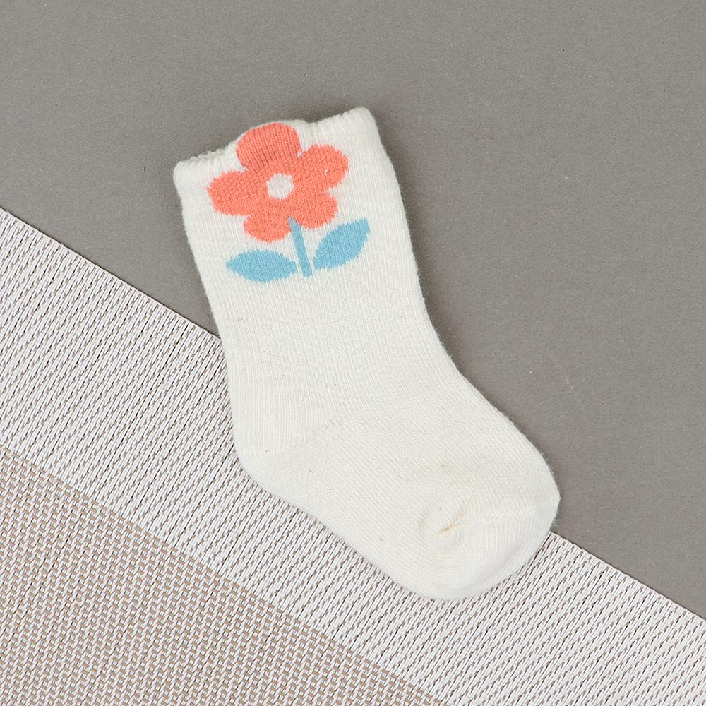 Baby Soft Flower Print White Socks For Newborn to 6 Months (30249)