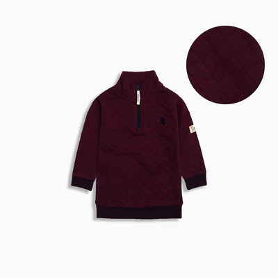 El kids burgundy quilted funnel neck sweatshirt (1542)