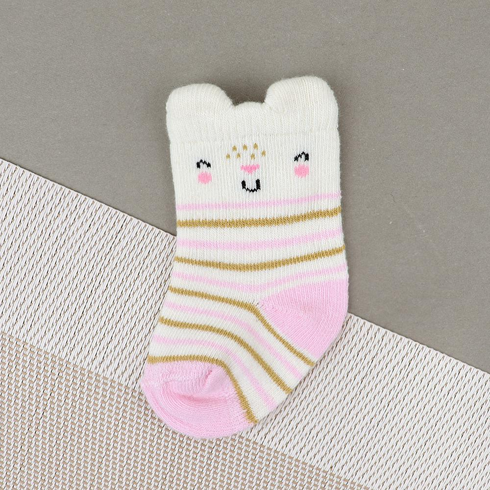 Baby Smiley Cartoon Soft Socks For Newborn to 6 Months (30234)