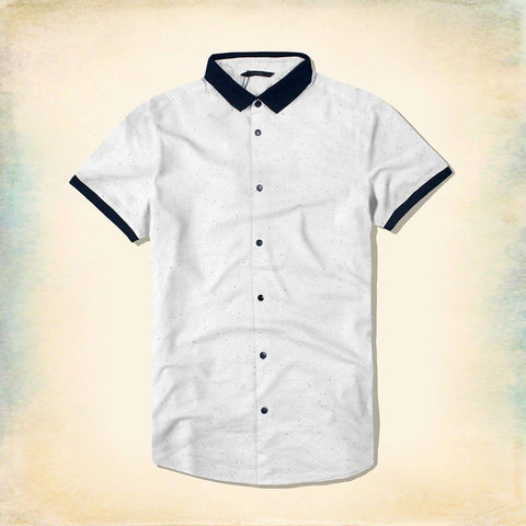 JACK & JONES-polo collar short-sleeved white designer shirt