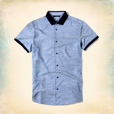 JACK & JONES-polo collar short-sleeved blue 'slim fit' designer shirt