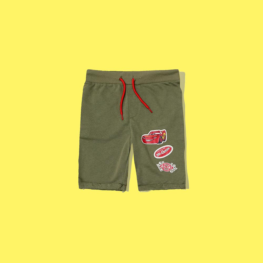 Boys olive Bermuda car printed terry short (2529)