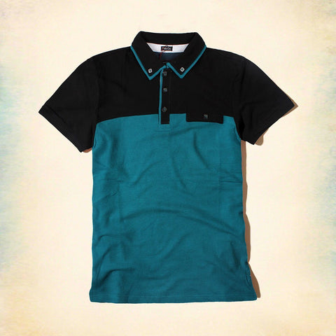 GAJANG-color block 'slim fit' button down polo