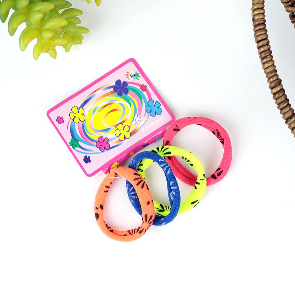 Pack of 4 Multicolor Printed hair bobble (2179)