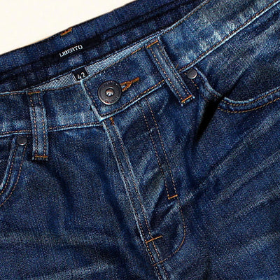 LIBERTO-mid blue rigid denim short