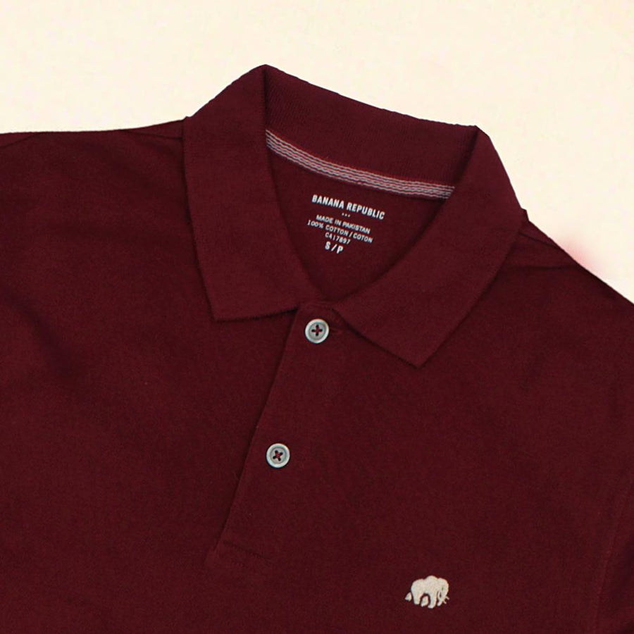 BANANA REPUBLIC-signature pique burgundy polo