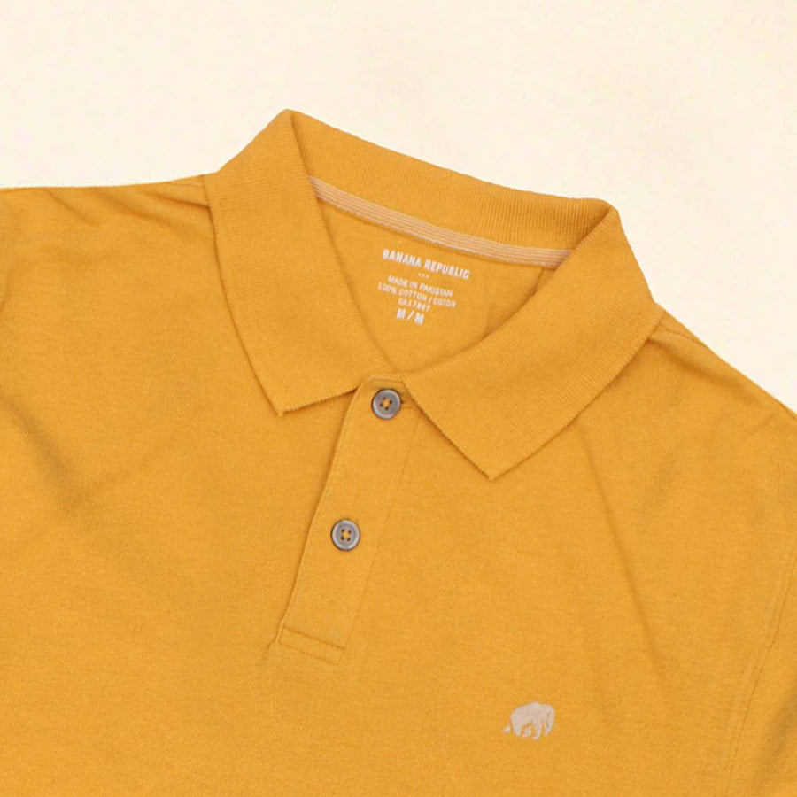 BANANA REPUBLIC-signature pique mustard polo