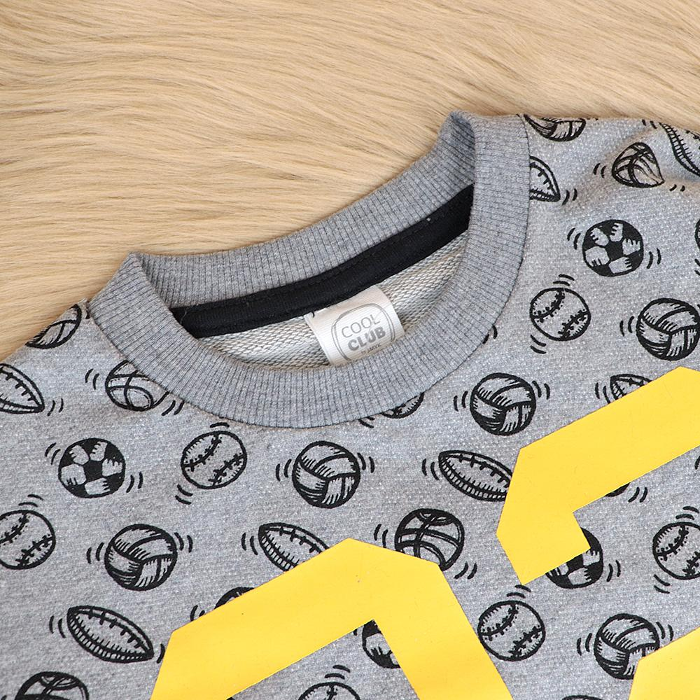Boys Grey All Over Printed Sporty Sweatshirt (30050)