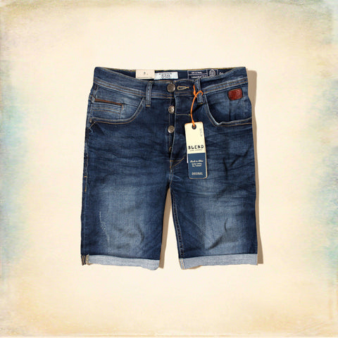 BLEND-twister mid blue 'slim fit' stretch denim short