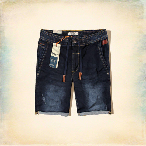 BLEND-navy 'slim fit' stretch cross pocket denim short