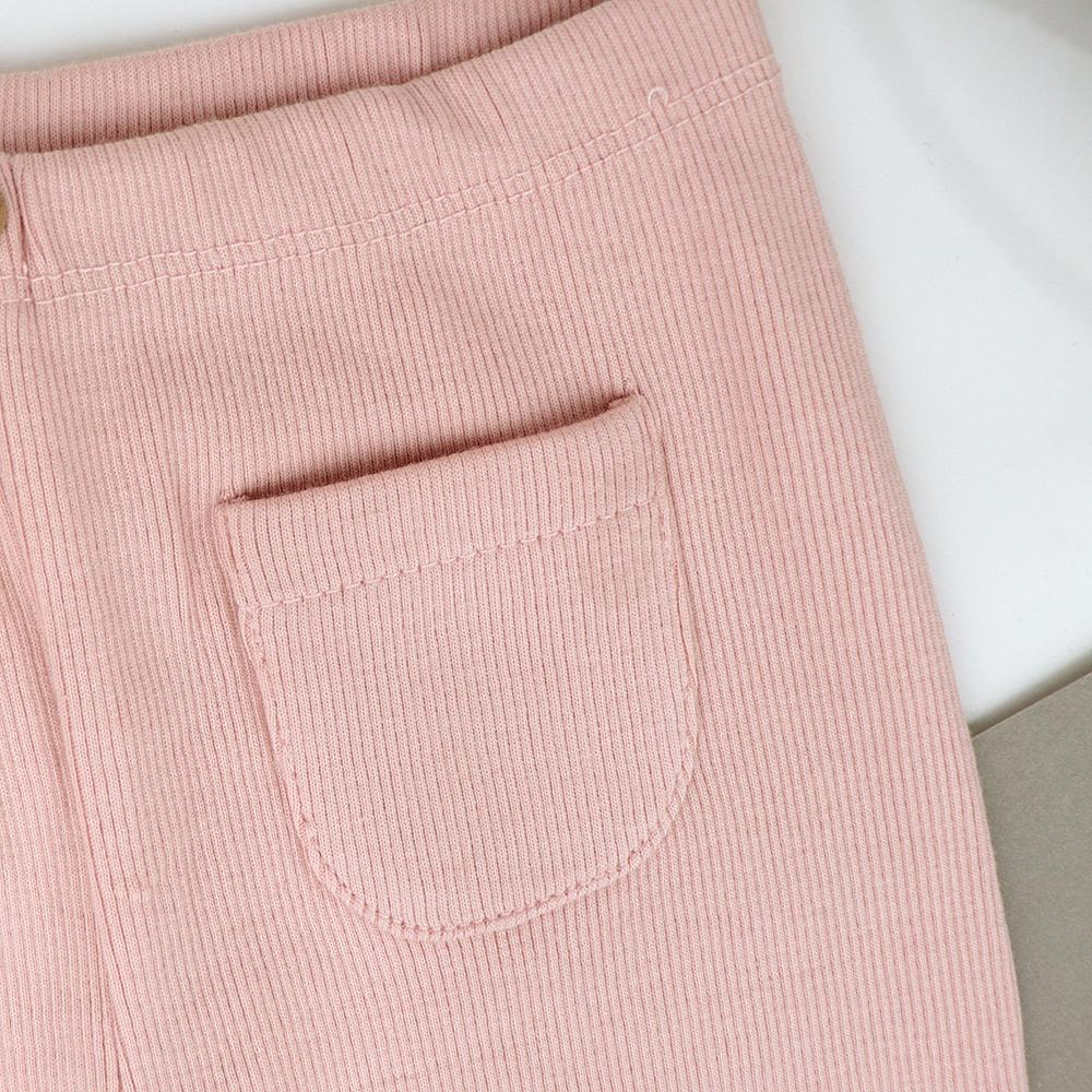 Girls Ribbed Salmon Pink Winter Leggings with Front Pocket (30203)