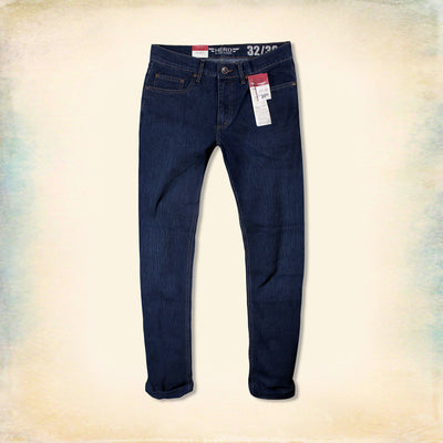 HERO-navy textured 'straight fit' stretch jeans