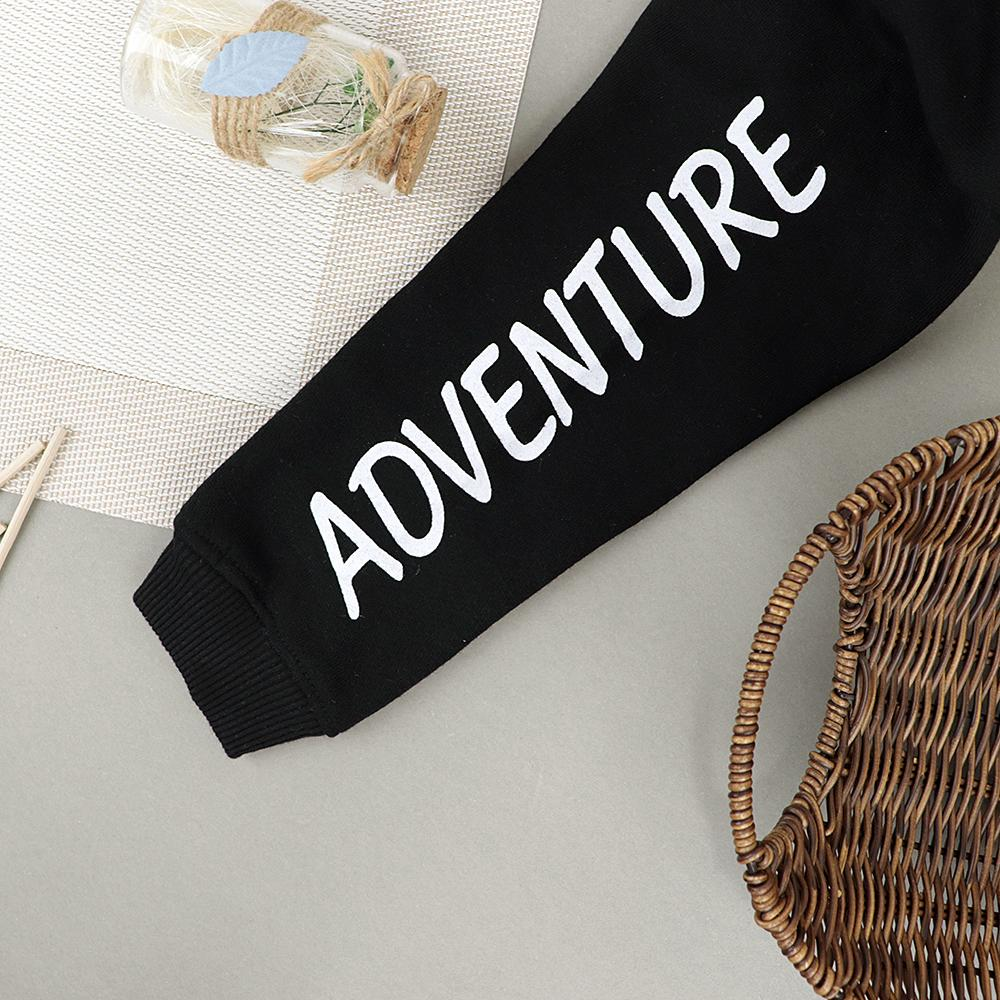Kids 'Adventure' Printed Black Sweatshirt (30056)