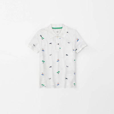 GAP-boys white printed short sleeve polo