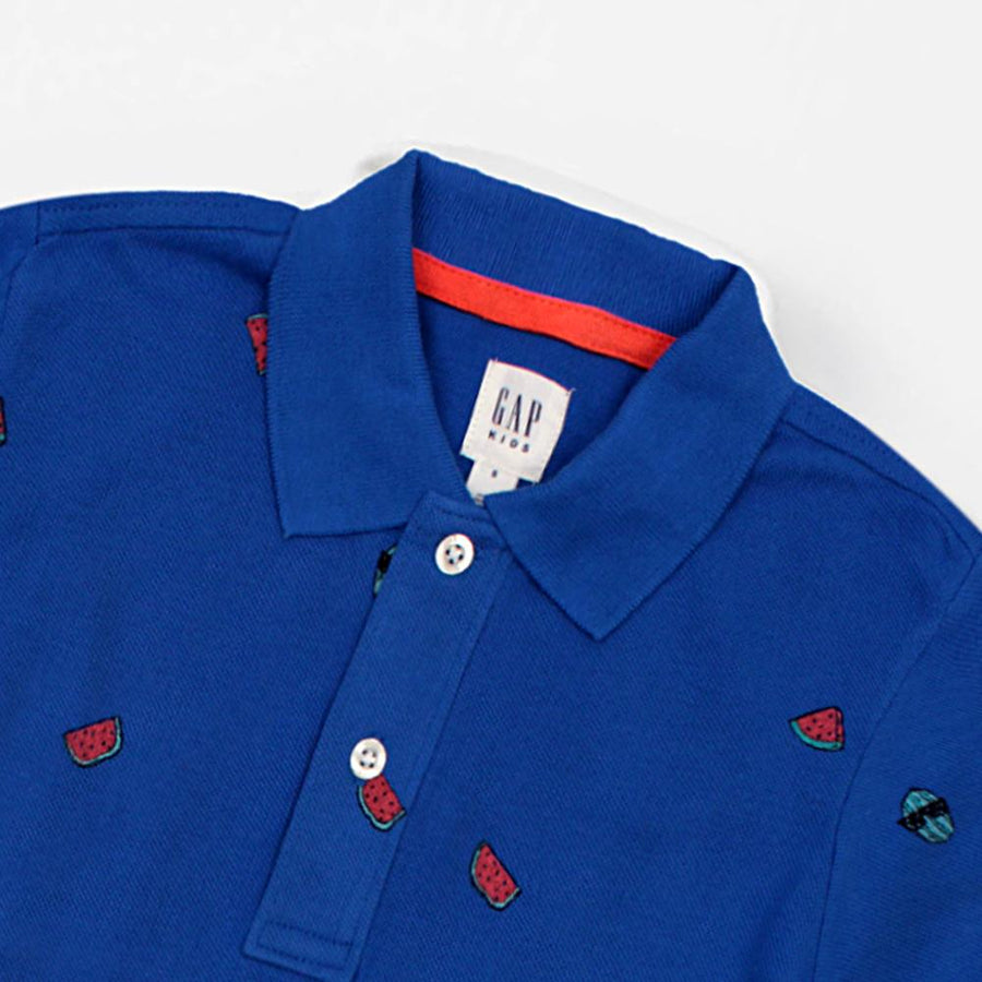 GAP-boys blue printed short sleeve polo